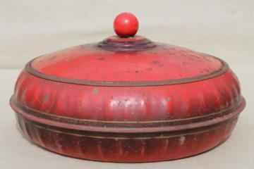 unusual old round red tin sewing box w/ original vintage paint, 1938 patent number
