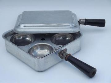 unusual vintage egg poacher, flat top aluminum cooker for campfire?