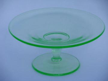 vaseline green vintage depression glass candy plate, pedestal for pillar candle