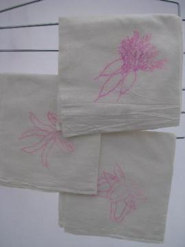 veggies transfer, vintage cotton feedsack kitchen towels to embroider