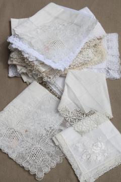 very fancy antique & vintage white lace hankies, fine cotton & linen wedding handkerchiefs