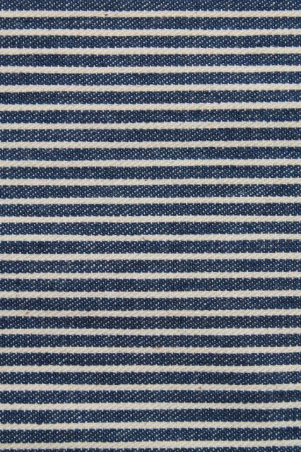 very firm vintage pillow, railroad striped blue & white hickory stripe cotton denim cover