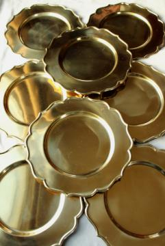 very heavy solid brass chargers, vintage set of 8 gold charger plates made in India