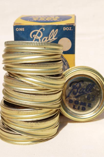 very old Ball canning jar metal bands & rubber seal lids, collectible vintage advertising