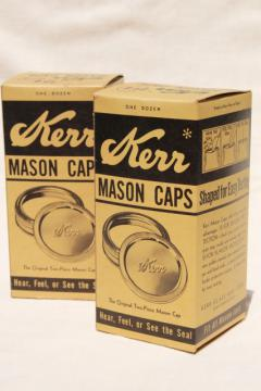 very old Kerr canning jar metal bands & rubber seal lids, collectible vintage advertising