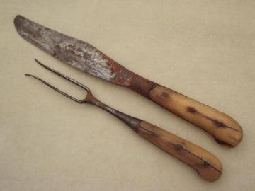 very old pre-civil war knife and fork, antique bone handled hand forged utensils