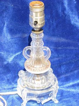 very ornate pressed pattern glass boudoir vanity lamp, 20s-30s vintage