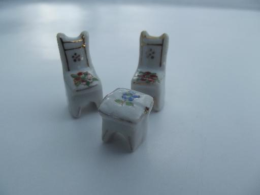 very tiny vintage Japan painted china miniatures, chairs, table and lamp
