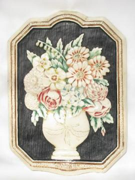 victorian flowers bouquet, painted chalkware picture plaque, early 1900s vintage