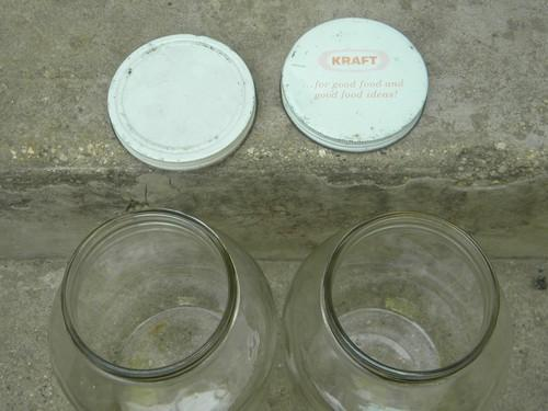 vintage 1 gallon wide mouth glass storage jar canisters w/metal lids