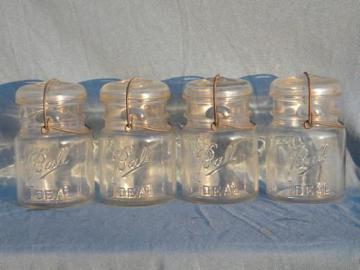vintage 1 pt Ball Ideal mason jars for storage canisters, lot of 4