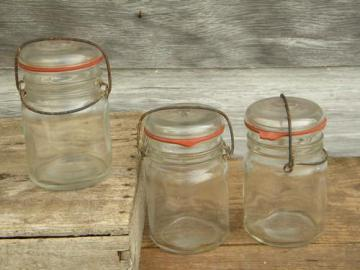 vintage 1 pt glass storage jars or canisters w/glass lids, lot of 3