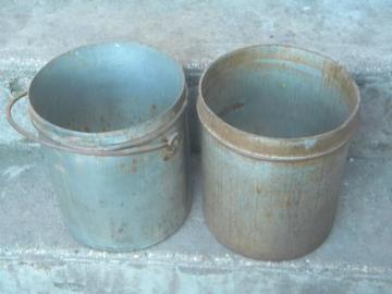 vintage 10 quart ice cream or dairy bucket tub canisters, tinned steel