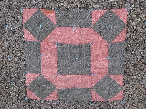 Vintage 1920s Hand Tied Patchwork Quilt Old Cotton Print