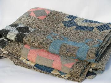 vintage 1920s hand-tied patchwork quilt, old cotton print fabric