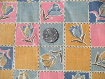 vintage 1920s-30s print cotton fabric, tulips checks in pink / blue / yellow