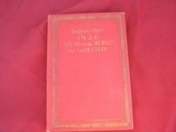 vintage 1926 world atlas and gazetteer w/100 full color maps, index etc
