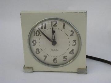 vintage 1930s art deco Westclox bedside alarm clock, 1935 patent date