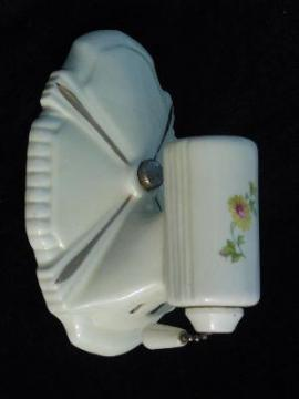 vintage 1930's floral china architectural wall sconce