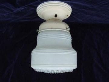 vintage 1930's kitchen ceiling light, original glass shade