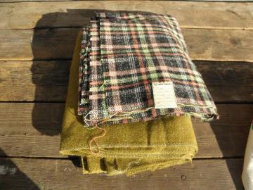 vintage 1940s - 50s woolen & wool blend fabric, tweed heather solid & plaid