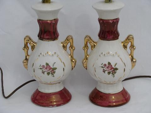Vintage 1940s China Boudoir Lamps For Nightstands Or