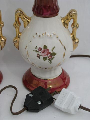 vintage 1940s china boudoir lamps for nightstands or vanity, lovely florals
