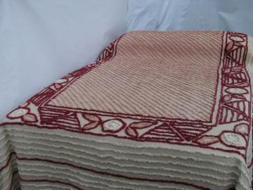 vintage 1940s cotton chenille bedspread, rose-pink w/ burgundy wine