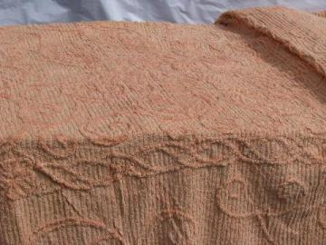 vintage 1940s cotton chenille bedspread, rosy peach-pink