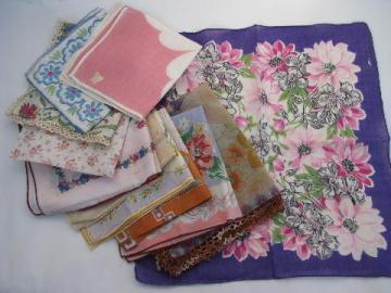 vintage 1940s floral hankies lot, flower print cotton handkerchiefs