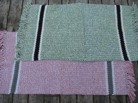 vintage 1940s hand crocheted cotton throw rugs, pink & grey, jade green & black