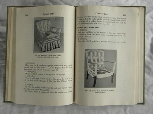 vintage 1940s how-to illustrated book of furniture upholstery