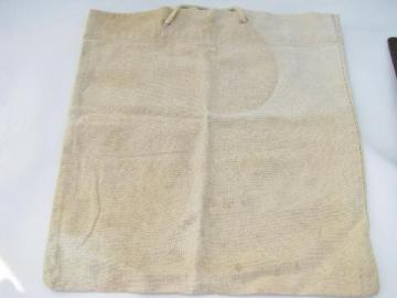 vintage 1940s shopping bag, rope handles, old cotton feedsack fabric tote