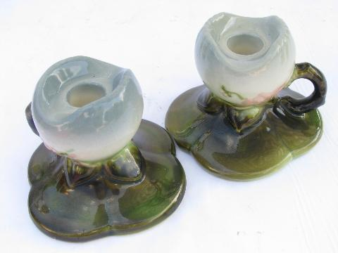 vintage 1940s-50s Hull art pottery candlesticks, flower shape candle holders