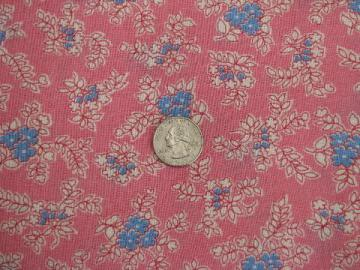 vintage 1940s-50s cotton feedsack fabric, extra long pink floral feed sack