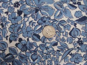 vintage 1940s-50s cotton feedsack fabric, old blue and white feed sack