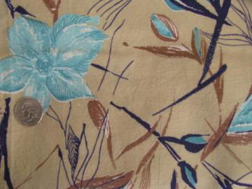vintage 1940s-50s cotton feedsack fabric, tropical flowers on tan