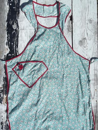 vintage 1940s-50s cotton print fabric pinafore aprons, bib apron lot