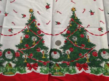 vintage 1950's Christmas tree border print cotton fabric