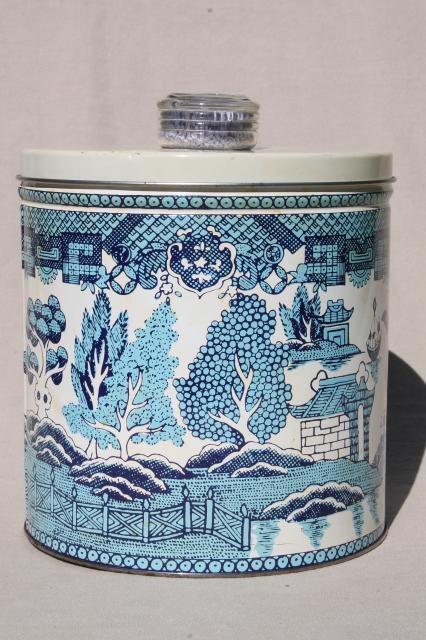 vintage 1950s Krispy Kan blue willow print kitchen canister tin, cracker or cookie jar