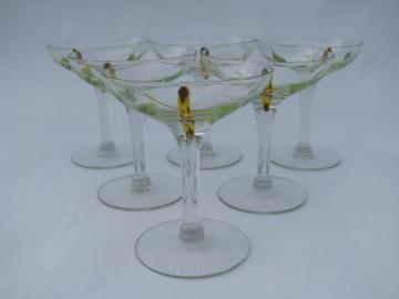 vintage 1950s green and yellow bamboo pattern low champagne glasses