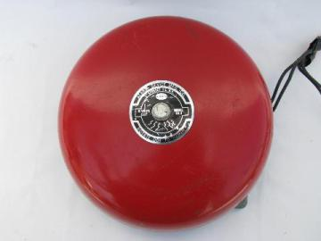 vintage 1950s industrial machine-age fire alarm bell, Alarm Device Mfg, Syosset, NY