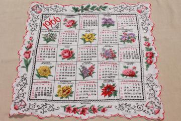 vintage 1966 calendar hanky, retro colorful print printed cotton handkerchief