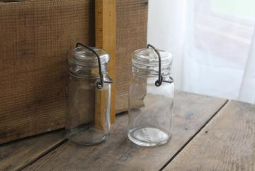 vintage 1970s Wheaton glass mason jar style bottles, large spice jars w/ wire bail lids