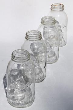 vintage 2 qt size mason jars, pickle jar canning jars or kitchen canisters