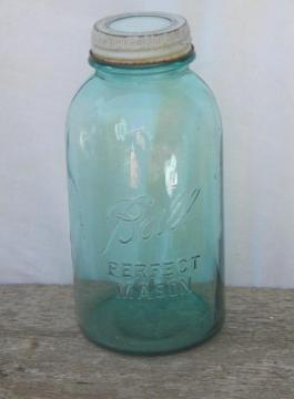 vintage 2 quart blue glass Ball storage canister jar w/milk glass cap