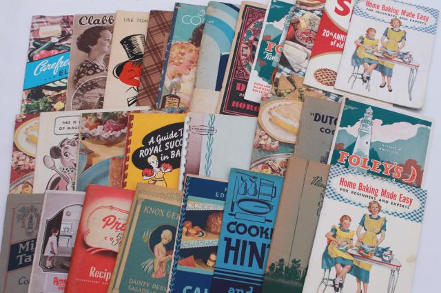 vintage 30s 40s 50s 60s cookbooks, advertising cook book recipe booklets lot