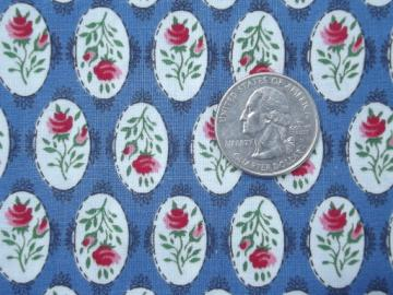 vintage 36 w cotton quilting fabric, pink & blue rose cameo print