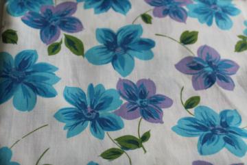 9357a9c7a8 vintage 36 wide cotton fabric w/ blue & purple violets, large scale floral  print