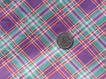 vintage 36'' wide cotton fabric, lavender-purple plaid w/ jadite green